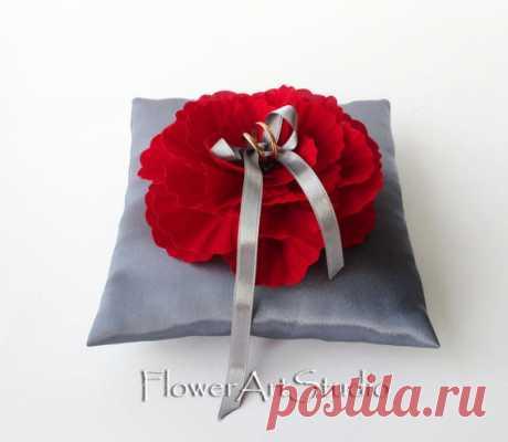 Wedding Ring Pillow Grey and Red Ring Pillow Wedding Ring