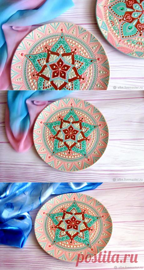 Декоративная тарелка Черешневый сад 2 точечная роспись – купить в интернет-магазине на Ярмарке Мастеров с доставкой - GJR6BRU   Омск