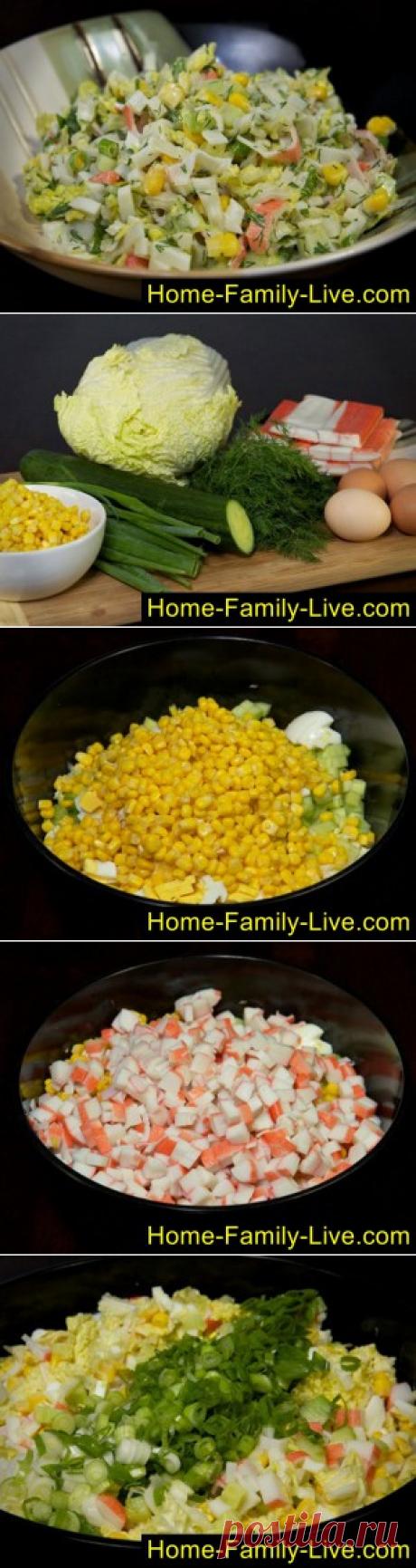 Салат из крабовых палочек с огурцом/Сайт с пошаговыми рецептами с фото для тех кто любит готовить