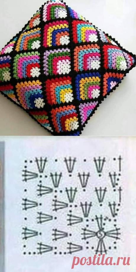 Симпатичный узор крючкомдля подушки