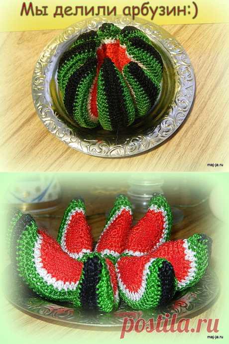 Игрушки на липучках, вязаный арбуз, вязаные ягоды