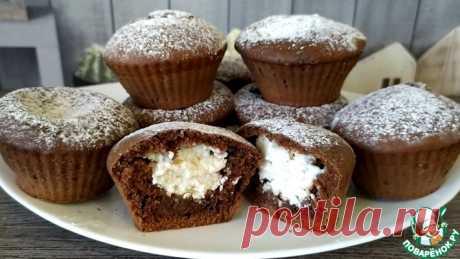 Шоколадные кексы с творожной начинкой Кулинарный рецепт