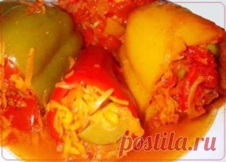 Болгарский перец, фаршированный овощами | Рецепты вкусно