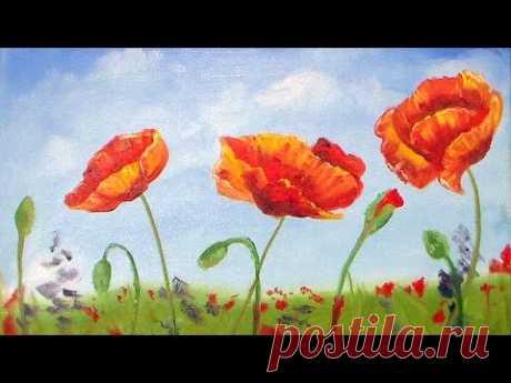 Poppies Oil Painting Beginner Tutorial
