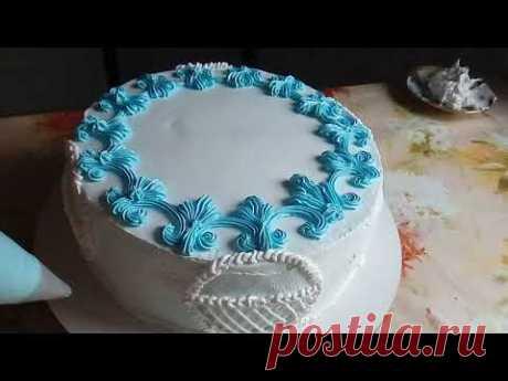 Торт с Синими Розами. Украшение Белково Заварным Кремом
