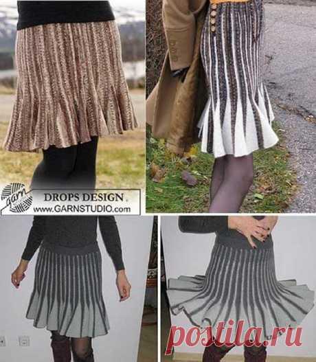 Расклешенная юбка спицами