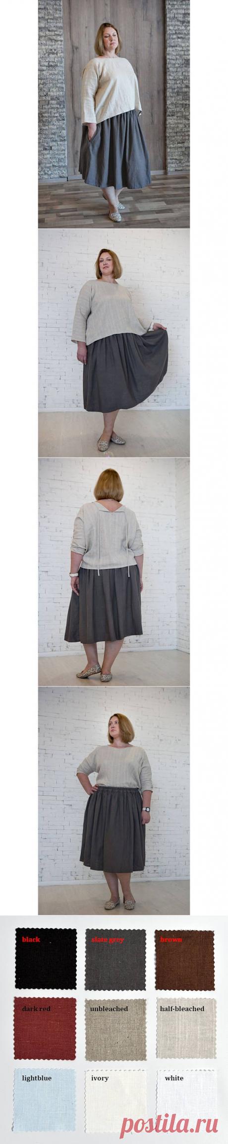 Medium length skirt Linen Loose washed linen SkirtPlus size