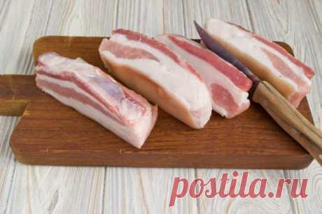 Солёная свиная грудинка в пакете. Пошаговый рецепт с фото .