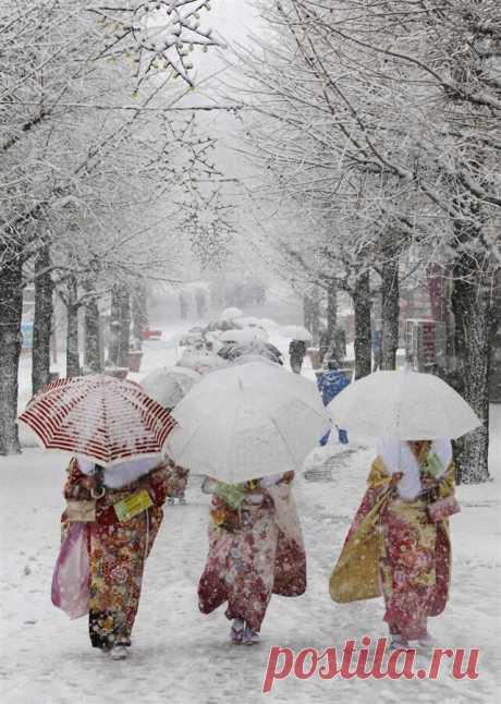 Япония под снегом.