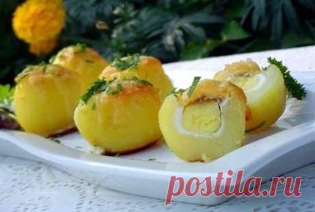 """Запеченный картофель Сюрприз  Такой картофель может украсить Ваш праздничный стол и послужит чудесным гарниром, а гостей удивит """"сюрприз"""" - это запеченное внутри картофеля перепелиное яйцо!  Ингредиенты:  Картофель отварной 4 шт. Яйцо перепелиное 4 шт. Сыр твердых сортов 50 г Соль по вкусу Черный молотый перец по вкусу  Приготовление:  Этап 1. Для приготовления этого блюда можно использовать как мелкий, так и крупный картофель, который нужно отварить, а крупный картофель р..."""