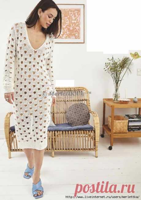 Пляжная мода. Платье с ажурными отверстиями - вязание спицами
