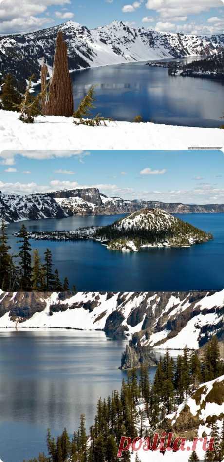 Самые уникальные озера мира. : Самое глубокое озеро в США – Кратер Лейк