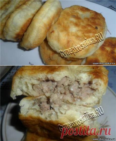 Пирожки с мясом - рецепт пирожков с фото. Пирожки с мясом, жареные на сковороде. Рецепт быстрого дрожжевого теста для пирожков на воде