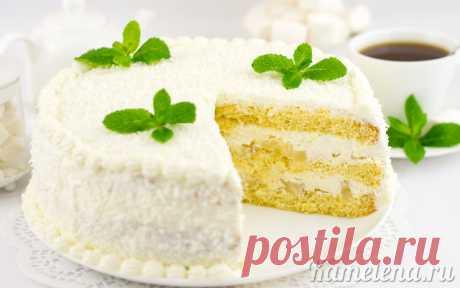 Белоснежный торт с ананасами