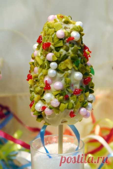 """Cake-Pops или пирожные-крошки на ножке """"Рождественская елочка"""" пошаговый рецепт с фотографиями"""