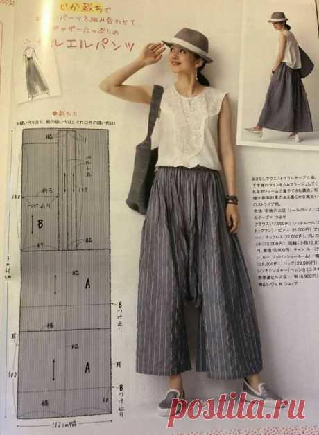 Юбка-брюки безотходная простая выкройка Модная одежда и дизайн интерьера своими руками