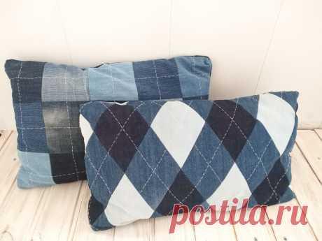 Шью диванные подушки из старых джинсов. | Hand Made для всех | Яндекс Дзен