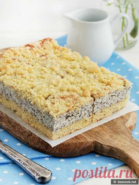 Пирог с творогом и маком   beecook.net Простой пошаговый рецепт приготовления вкусного пирога с творогом, маком и штрейзелем.