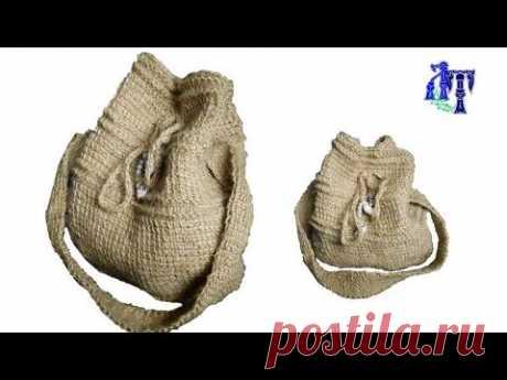 Джутовая сумочка тунисским крючком #ЛюдмилаТен