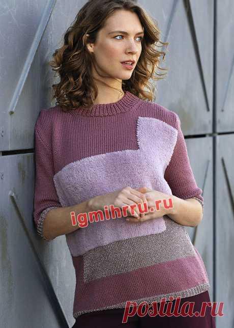 Трехцветный пуловер в технике интарсия. Вязание спицами со схемами и описанием