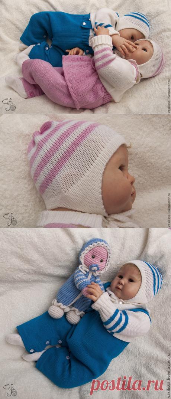 Купить Комплект на выписку Кавалер вязаный шерстяной - для новорожденных, комплект на выписку, для близнецов, комбинезон