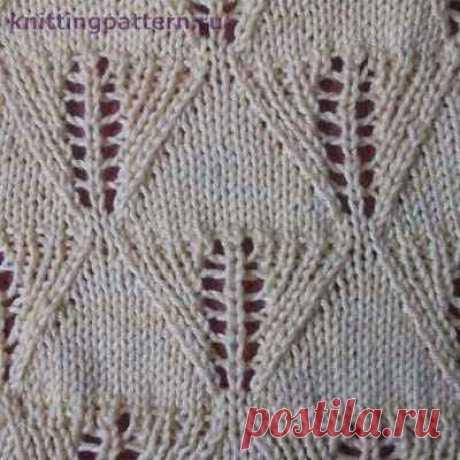 Ажурное вязание на спицах Листики - ромбики