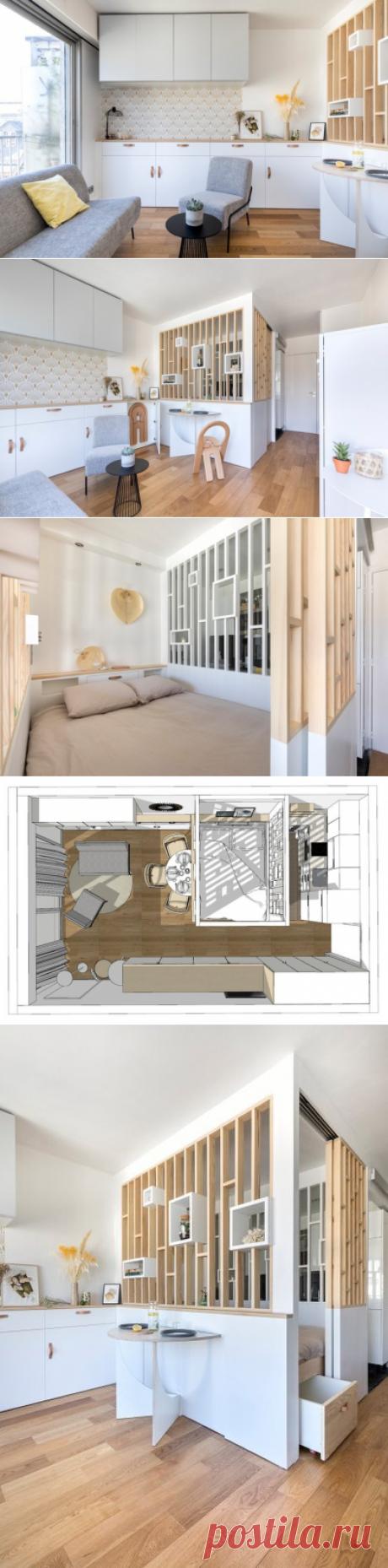 До и после: Студия 30 кв.м со спрятанным столом в Париже
