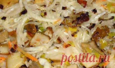 Постный салат с маринованными грибами и капустой « Рецепты салатов