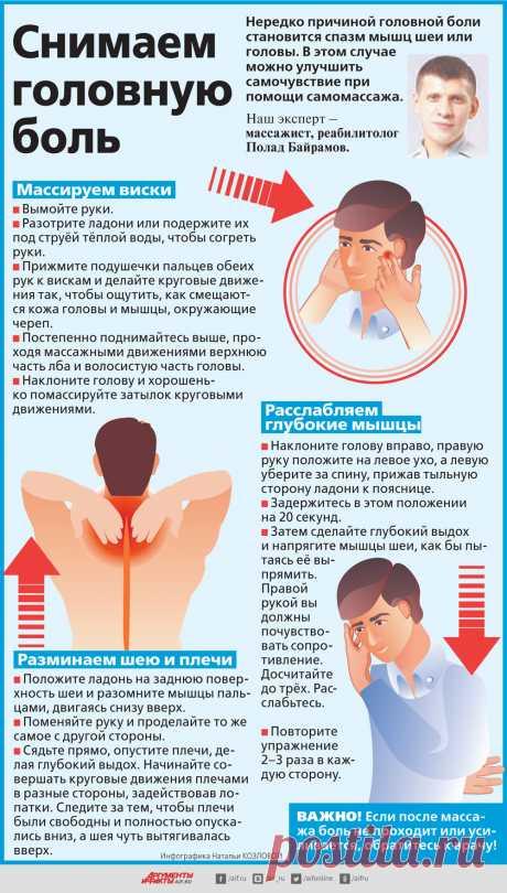 Как снять головную боль с помощью самомассажа? Инфографика | Здоровая жизнь | Здоровье | Аргументы и Факты