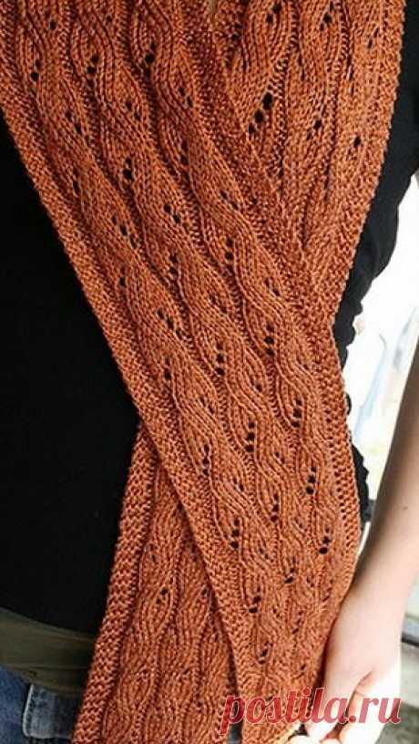 Очень красивые узоры спицами для шарфов