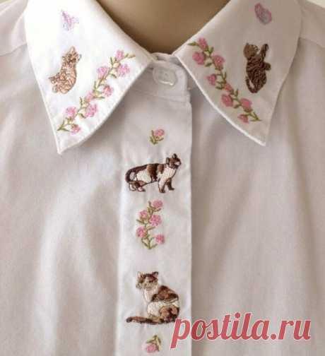 Скучная рубашка станет интереснее, если добавить вышивку на воротничок | MIAZAR | Яндекс Дзен