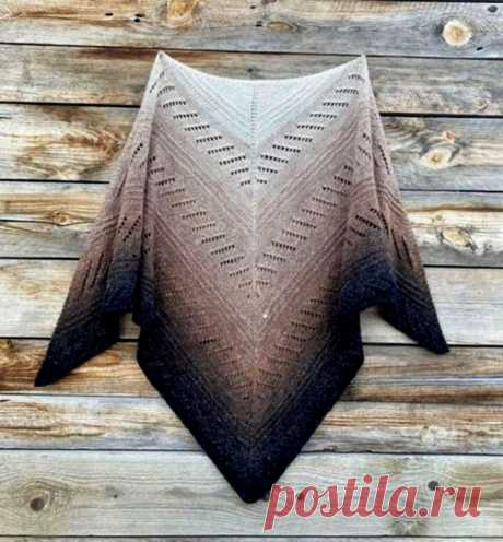 Треугольная Шаль спицами. Подробный МК (Вязание спицами) – Журнал Вдохновение Рукодельницы