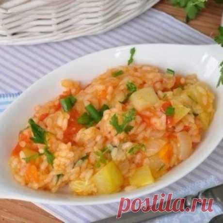 Los calabacines con hortalizas y el arroz en la multicocción.