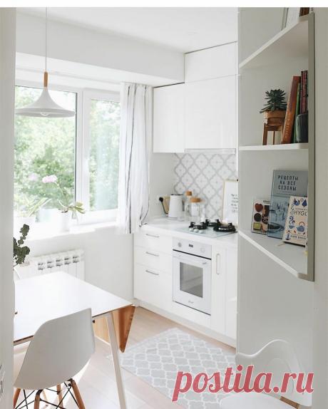 Светлая и воздушная кухня на 5 квадратных метрах   Твоя квартира   Яндекс Дзен