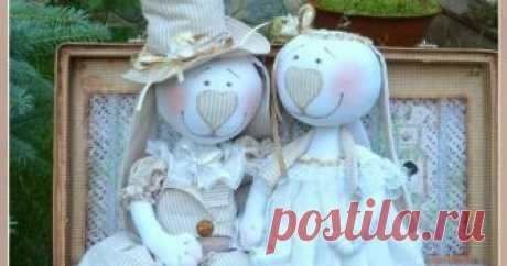 Свадебные зайцы. Блог о текстильных интерьерных игрушках и куклах.