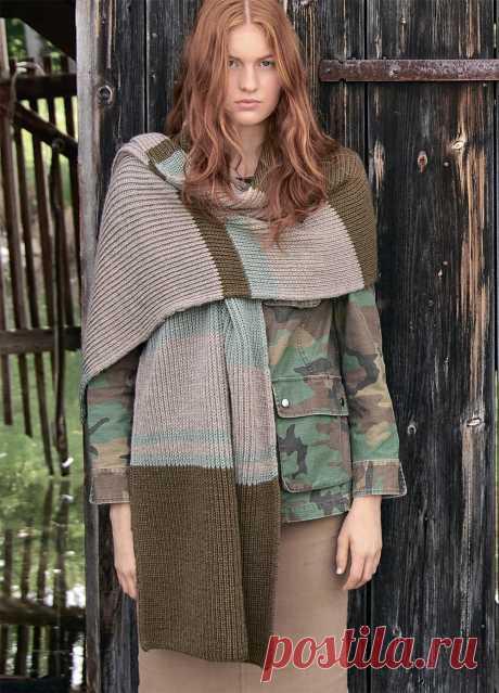 Широкий шарф с полосами - схема вязания спицами с описанием на Verena.ru