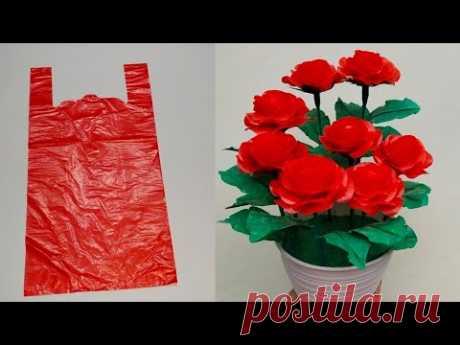 Rose Flower Making with Plastic bag l Cara Membuat Bunga Mawar dari Plastik kresek l DIY Craft