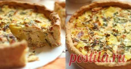 Пирог с курицей и картофелем. Нежное тесто и хрустящая начинка.