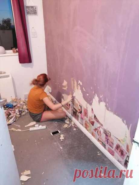 Девочка-подросток сорвала в комнате обои, решив самостоятельно сделать ремонт | Офигенная