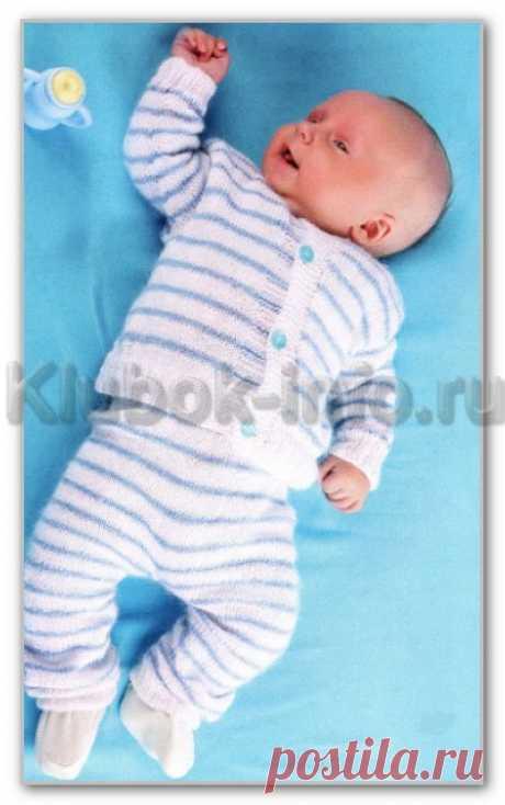 Вязание спицами детям от 0 до 3 лет. Описание детской модели со схемой и выкройкой. Комплект в полоску для ребенка 3-6 месяцев: кофточка на пуговицах и штанишки