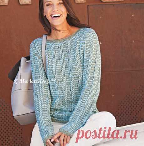Вязание спицами для женщин - Пуловер двухцветный