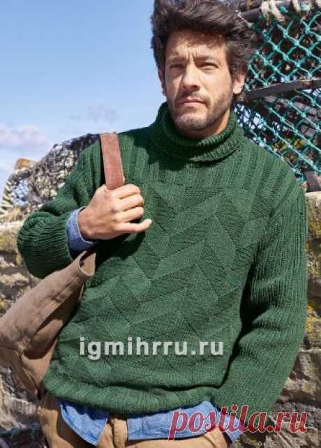Темно-зеленый мужской свитер с зигзагообразным узором. Вязание спицами для мужчин