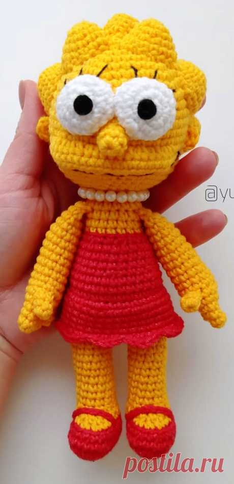 PDF Лиза Симпсон крючком. FREE crochet pattern; Аmigurumi doll patterns. Амигуруми схемы и описания на русском. Вязаные игрушки и поделки своими руками #amimore - кукла, куколка, девочка, Симпсоны, The Simpsons.
