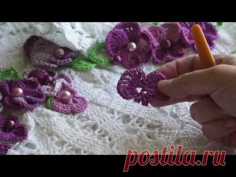Как связать цветок фиалку крючком (узор#37)