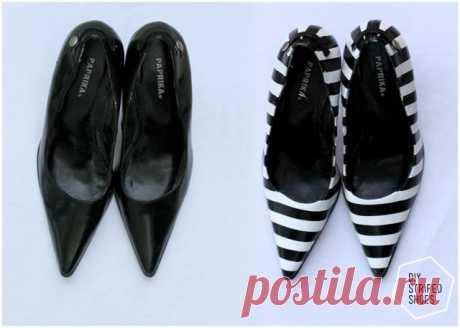 Как сделать туфли полосатыми (Diy) / Обувь / ВТОРАЯ УЛИЦА