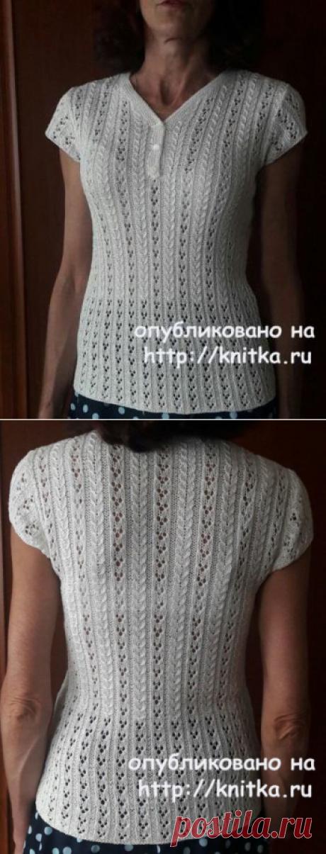 Ажурная кофточка спицами. Работа Марины Ефименко, Вязание для женщин