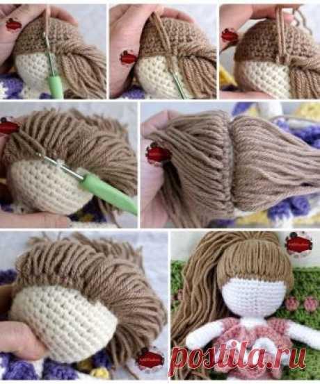 Волосы для вязаной куклы. МК