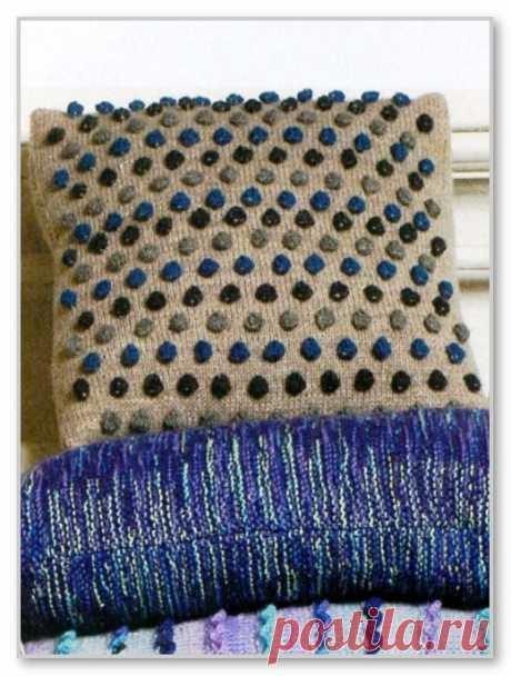 Вязание спицами. Модели для дома и интерьера. Чехол для подушки с цветными шишечками. Размеры 40 х 40 см