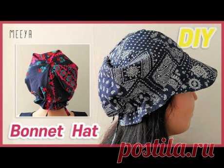 DIY Bonnet Hat |bandana|보넷 두건 만들기|모자두건|Scrub cap|Sun Hat|tutorial|반다나|Hair scarf|헤어스카프|ボンネットハット - YouTube