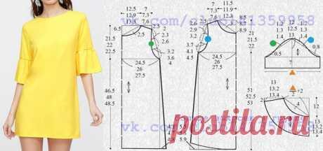 34534eedac7376a Платье слегка расклешенного силуэта, с воланами на коротких втачных  рукавах. Выкройка на размеры 40